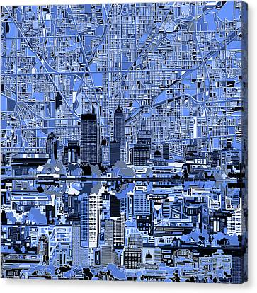 Indianapolis Skyline Abstract 7 Canvas Print