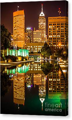 Indianapolis Skyline At Night Canal Reflection Picture Canvas Print by Paul Velgos