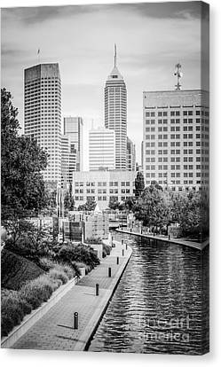 Indianapolis Skyline Black And White Photo Canvas Print by Paul Velgos