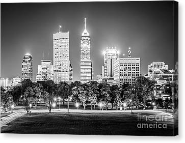Indianapolis Skyline Black And White Picture Canvas Print by Paul Velgos