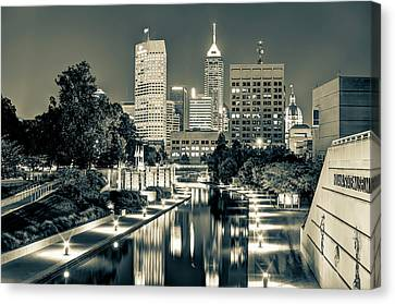 Indianapolis Skyline - Canal Walk Bridge View In Sepia Canvas Print by Gregory Ballos