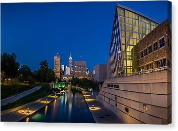 Indianapolis Skyline From The Canal At Night Canvas Print by Ron Pate