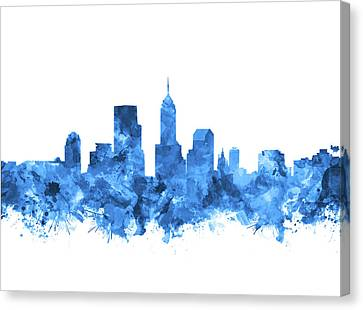 Indianapolis Skyline Watercolor Blue Canvas Print