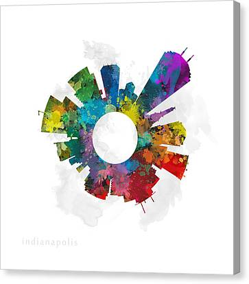 Indianapolis Small World Cityscape Skyline Abstract Canvas Print by Jurq Studio