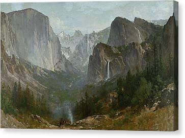 Indians At Campfire Yosemite Valley Canvas Print