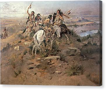 Indians Discovering Lewis And Clark Canvas Print by Charles Marion Russell