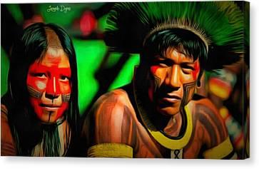 Indians Of Brazil - Da Canvas Print by Leonardo Digenio