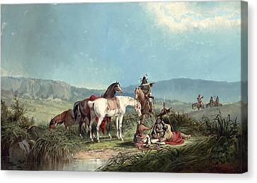 Indians Playing Cards Canvas Print