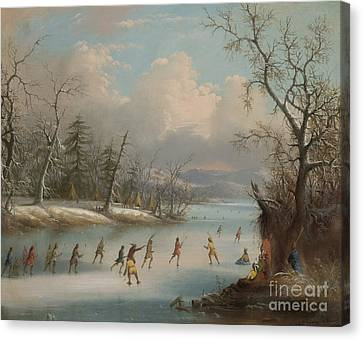 Indians Playing Lacrosse On The Ice, 1859 Canvas Print by Edmund C Coates