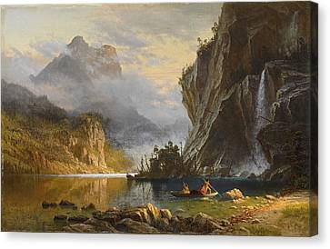 Indians Spear Fishing, 1862 Canvas Print by Albert Bierstadt