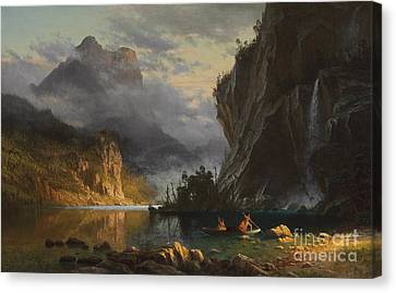 Indians Spear Fishing Canvas Print by Albert Bierstadt
