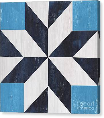 Block Quilts Canvas Print - Indigo And Blue Quilt by Debbie DeWitt