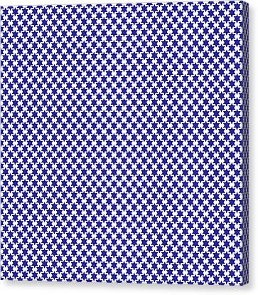 Indigo And White Star Of David- Art By Linda Woods Canvas Print by Linda Woods