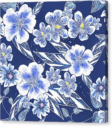 Indigo Batik Tile 2 - Ginger Leaves Canvas Print