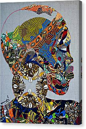 Canvas Print featuring the tapestry - textile Indigo Crossing by Apanaki Temitayo M