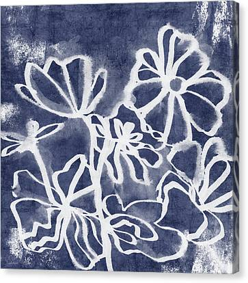 Indigo Floral 3- Art By Linda Woods Canvas Print by Linda Woods