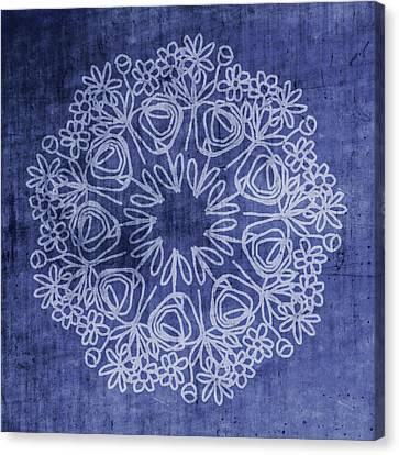 Indigo Mandala 1- Art By Linda Woods Canvas Print by Linda Woods