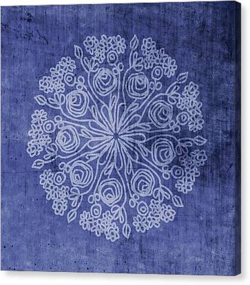 Indigo Mandala 2- Art By Linda Woods Canvas Print by Linda Woods