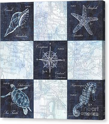 Indigo Nautical Collage Canvas Print by Debbie DeWitt