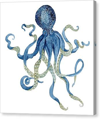 Indigo Ocean Blue Octopus  Canvas Print by Audrey Jeanne Roberts