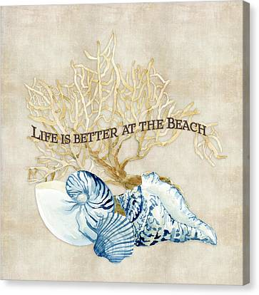 Scallop Shell Canvas Print - Indigo Ocean - Life Is Better At The Beach by Audrey Jeanne Roberts