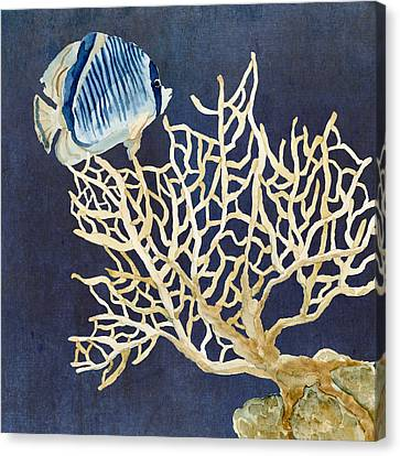 Indigo Ocean - Tan Fan Coral N Angelfish Canvas Print by Audrey Jeanne Roberts