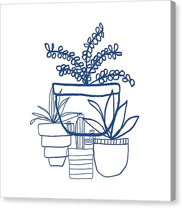 Canvas Print featuring the mixed media Indigo Potted Succulents- Art By Linda Woods by Linda Woods