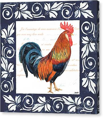 Cockerel Canvas Print - Indigo Rooster 1 by Debbie DeWitt