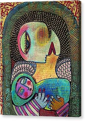 Indigo Tapestry Angel Mother And Child Canvas Print by Sandra Silberzweig