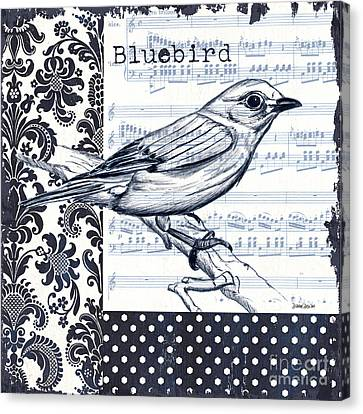 White Birds Canvas Print - Indigo Vintage Songbird 1 by Debbie DeWitt