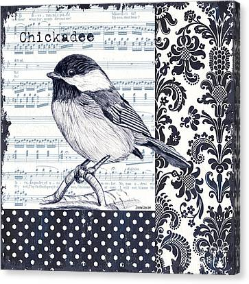 White Birds Canvas Print - Indigo Vintage Songbird 2 by Debbie DeWitt