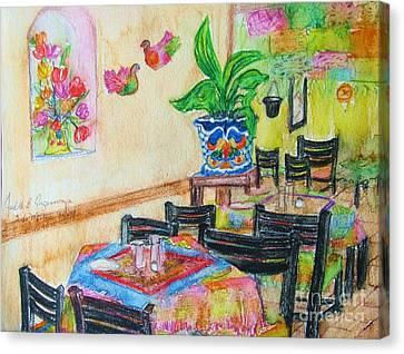 Indoor Cafe - Gifted Canvas Print by Judith Espinoza