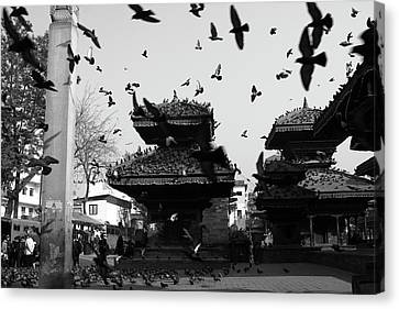 Tibetan Buddhism Canvas Print - Indrapur And Vishnu Temple, Durbar Square, Kathmandu by Aidan Moran