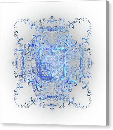 Canvas Print featuring the digital art Indulgent Blue Lace by Rosalie Scanlon