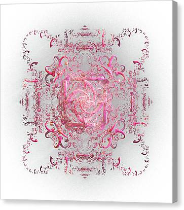 Canvas Print featuring the digital art Indulgent Pink Lace by Rosalie Scanlon