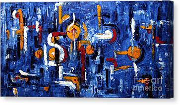 Canvas Print featuring the painting Industrial Abstract by Arturas Slapsys