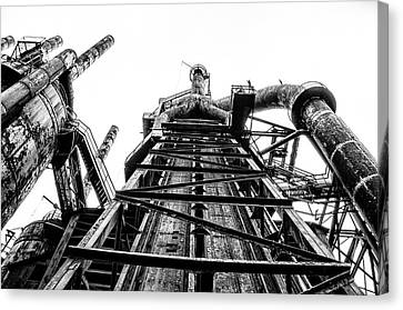 Industrial Age - Bethlehem Steel In Black And White Canvas Print by Bill Cannon