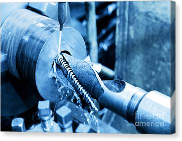 Industrial Turning And Threading Machine At Work Canvas Print by Michal Bednarek