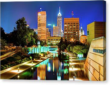 Indy Of Lights - Indianapolis Downtown Skyline Canvas Print by Gregory Ballos