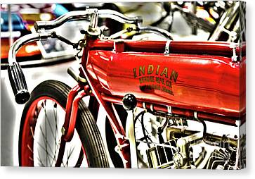 Indy Race Car Museum Indian Motorcycle Canvas Print by ELITE IMAGE photography By Chad McDermott