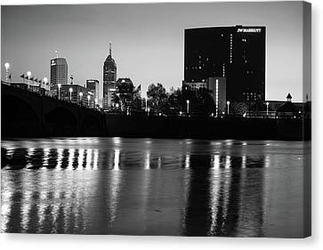 Indy Skyline Black And White Reflections - Indianapolis Indiana Canvas Print by Gregory Ballos