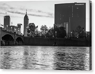 Indiana Canvas Print - Indy Skyline On The River - Indianapolis Morning - Black And White by Gregory Ballos