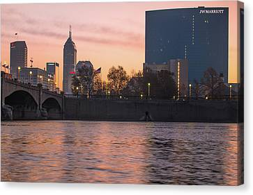 Indy Skyline On The River - Indianapolis Morning Canvas Print by Gregory Ballos