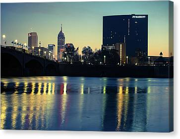 Indy Skyline Reflections - Indianapolis Indiana Canvas Print by Gregory Ballos