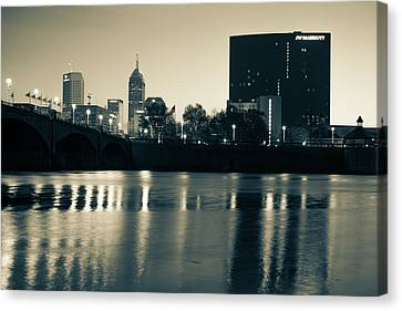 Indy Skyline Sepia Reflections - Indianapolis Indiana Canvas Print by Gregory Ballos