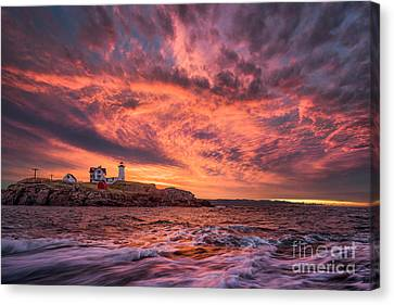 Nubble Lighthouse Canvas Print - Inferno by Benjamin Williamson