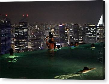 Infinity Pool At Marina Bay Sands Hotel Canvas Print by Diane Height