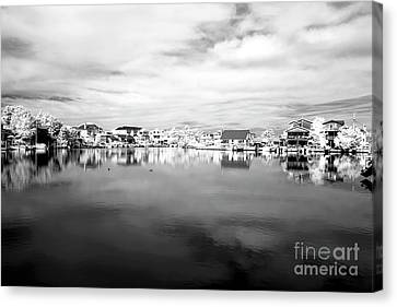 Infrared Beach Houses On The Water Canvas Print by John Rizzuto