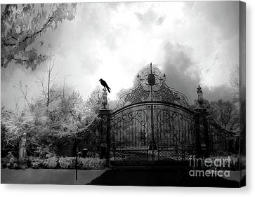Canvas Print featuring the photograph Infrared Gothic Raven On Gate Black And White Infrared Print - Solitude - Gothic Raven Infrared Art  by Kathy Fornal