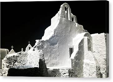 Panagia Canvas Print - Infrared Paraportiani by John Rizzuto